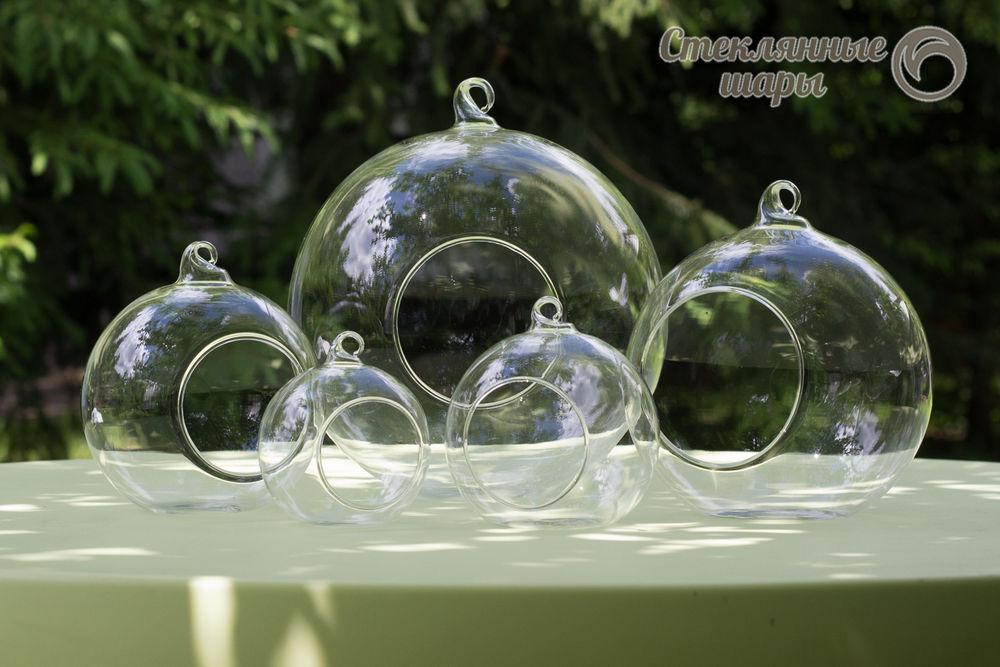 подвесная ваза шар, свадебный декор, новогодний стеклянный шар