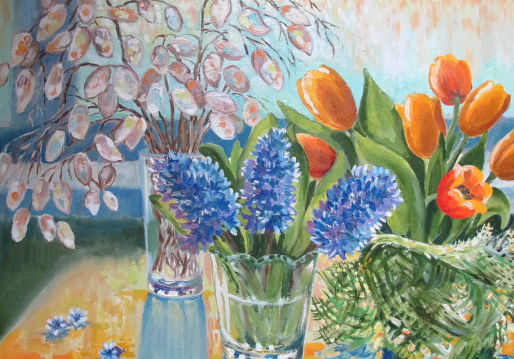 натюрморт с цветами, яркая картина, солнце, оранжевый, авторская работа