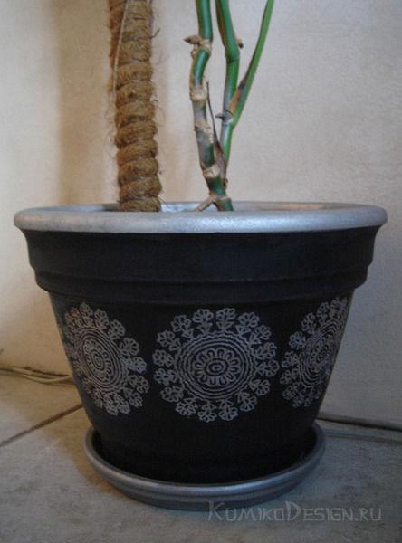 Декор цветочного горшка, Ю. Дружинина