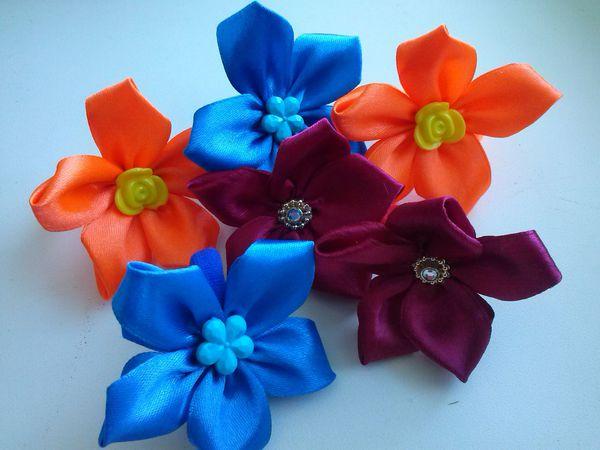 Канзаши для начинающих: самый простой цветок. Видеоурок | Ярмарка Мастеров - ручная работа, handmade