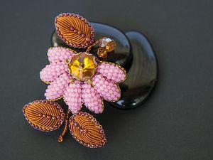 Делаем осеннюю брошь «Георгина» в технике объемной вышивки. Ярмарка Мастеров - ручная работа, handmade.