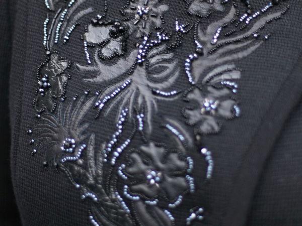 Новинка пальто! Бисерная вышивка с аппликацией из кожи!!!   Ярмарка Мастеров - ручная работа, handmade