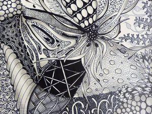 Творческая вечеринка.Зентангл ( медитативный рисунок). Настенное панно.   Ярмарка Мастеров - ручная работа, handmade