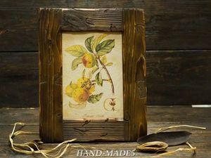 Рамка стиле рустик от Марины Жуковой!  (обжиг и старение древесины)   Ярмарка Мастеров - ручная работа, handmade
