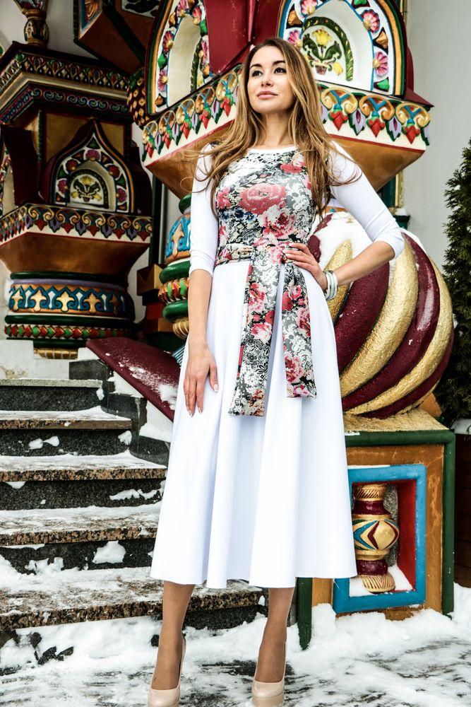 цветочный, красивое платье, удобное платье, купить платье, белоснежный