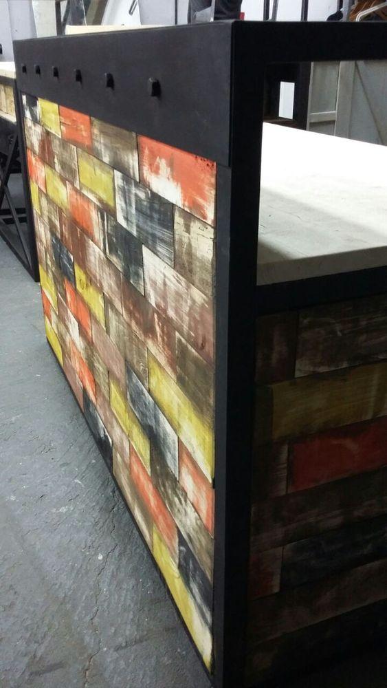барбершоп, дизайн мебели, рецепшн из стали, стиль лофт в интерьере