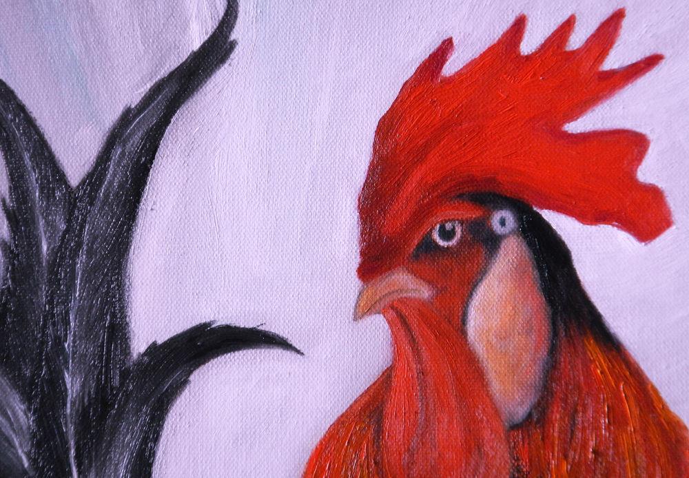 купить картину маслом, петух, красный, птица