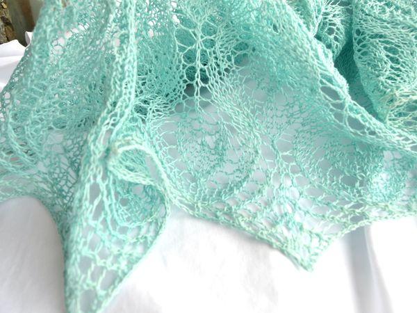 Вязание спицами. Ажурная льняная шаль. Часть 1.   Ярмарка Мастеров - ручная работа, handmade