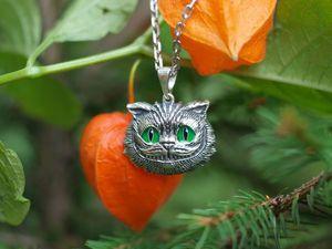Скидка! Кулон Чеширский кот, серебро 925 с эмалью. Ярмарка Мастеров - ручная работа, handmade.