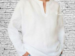 Рубашка мужская из льна. Ярмарка Мастеров - ручная работа, handmade.