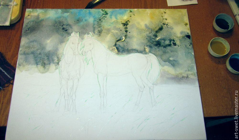 Как рисовать лошадок акварелью, фото № 5