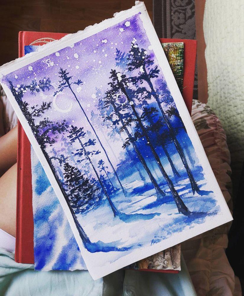 Рисуем открытки на новый год акварелью, неба