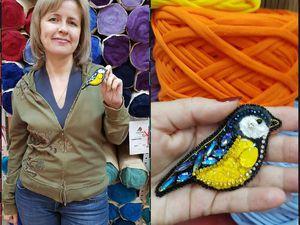 Мк вышивка броши Синички | Ярмарка Мастеров - ручная работа, handmade