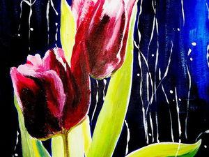 Пишем тюльпаны акрилом: пошаговый мастер-класс. Ярмарка Мастеров - ручная работа, handmade.