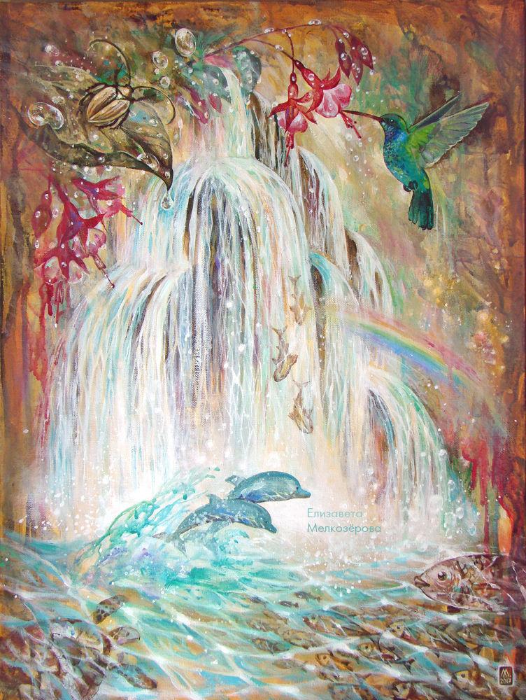 цвет морской волны, страстная любовь, живопись холст акрил