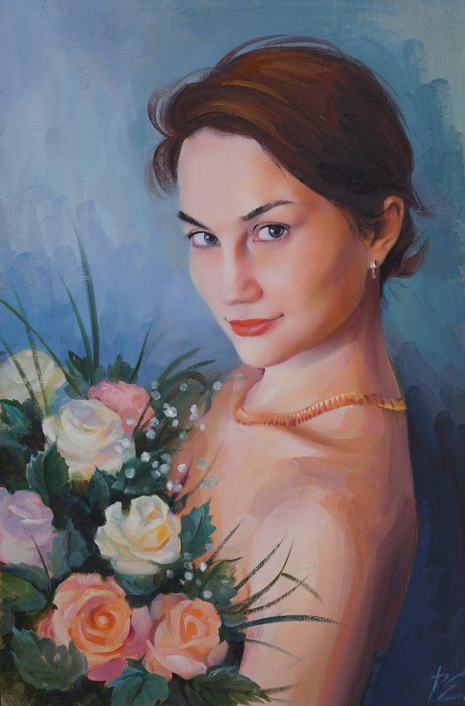 портрет по фото, портрет девушки, портрет в подарок, портрет, картина маслом, картина в подарок