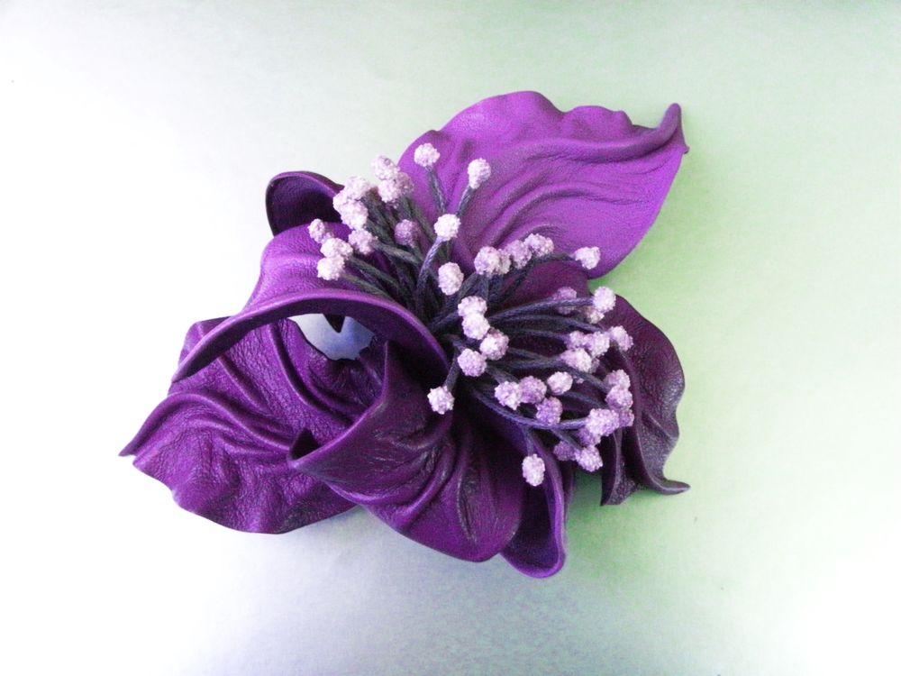 новинка магазина, брошь фиолетовая, объёмный цветок, de-si-re