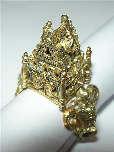 An antique gold Jewish wedding ring. Provenance: James Curle, Melrose, Scottish archaeologist.: