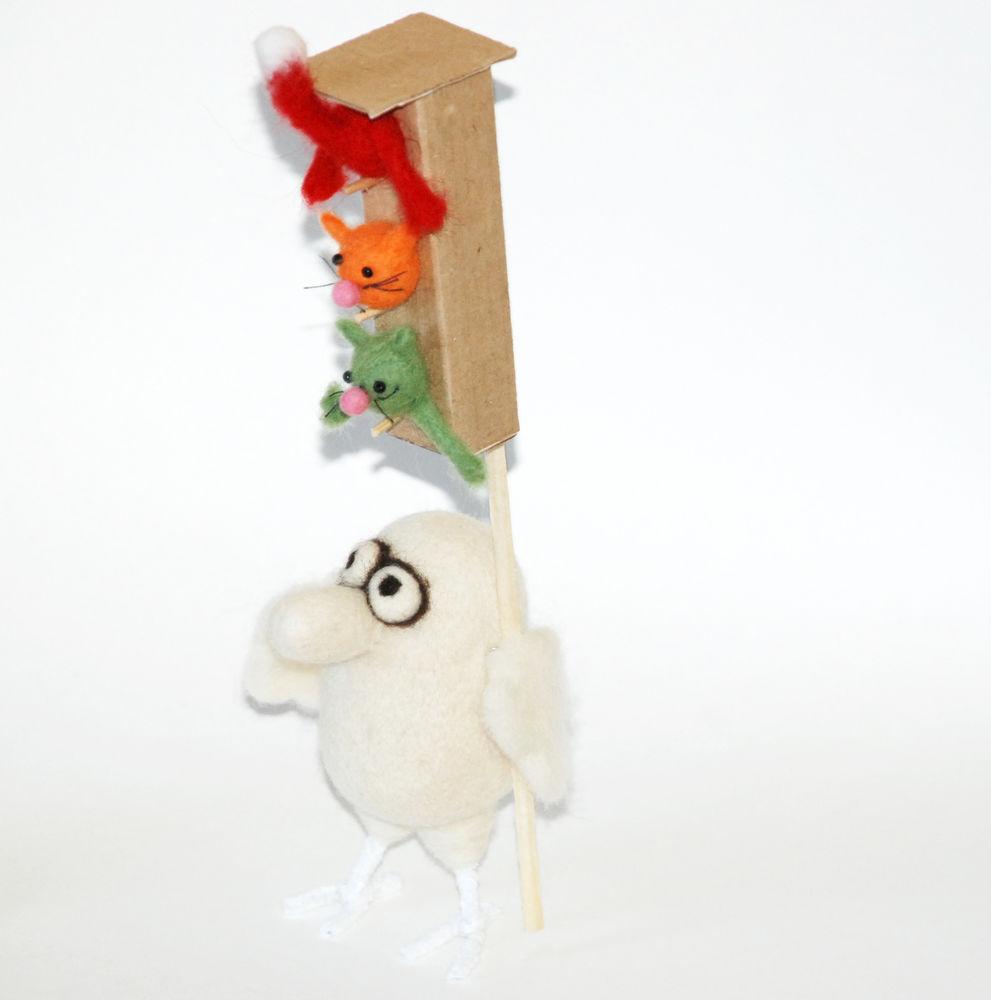 дядя коля воронцов, авторская игрушка, птичка, птичка из войлока, светофор