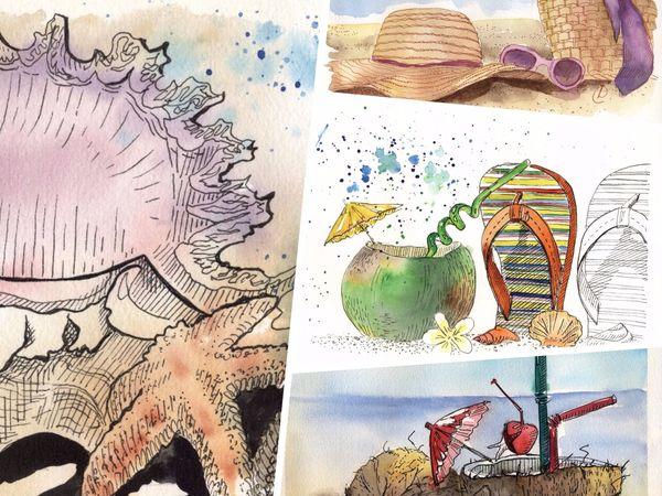 Новая коллекция скетчей в морском стиле | Ярмарка Мастеров - ручная работа, handmade