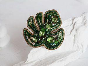 Видео брошь зеленый лист монстеры Green melody. Ярмарка Мастеров - ручная работа, handmade.