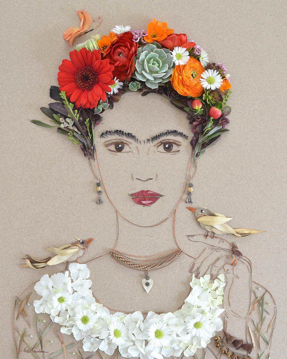 Портреты в гармонии с природой от Sister Golden: романтические образы и известные личности, сложенные из веточек и лепестков