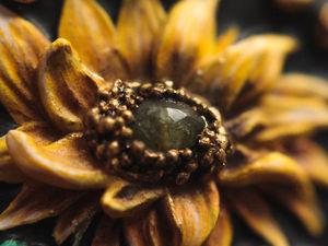 Подсолнух. Брошь цветок из полимерной глины с камнем амазонит, турмалин. Ярмарка Мастеров - ручная работа, handmade.