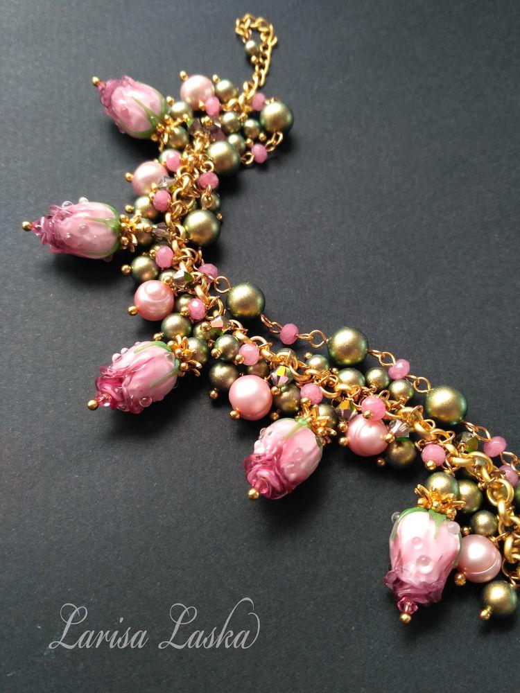 стеклянные украшения, цветы лэмпворк