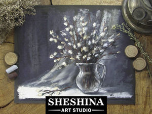 Видеоурок: рисуем натюрморт с вербой сухой пастелью. Ярмарка Мастеров - ручная работа, handmade.
