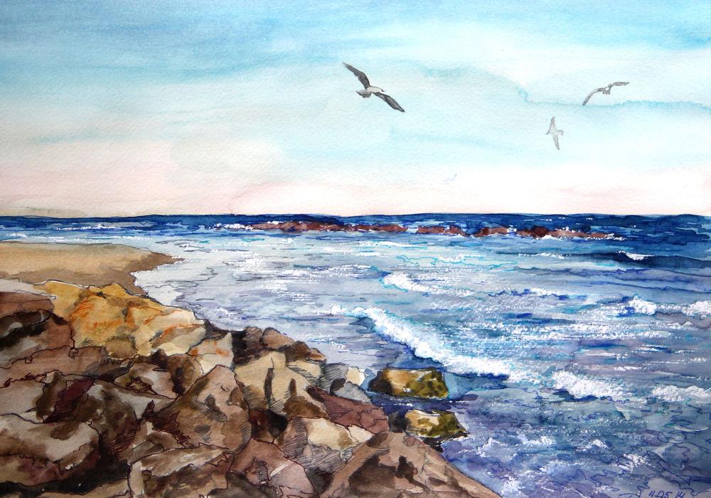 распродажа, акварельная живопись, картина для интерьера, морской пейзаж, чайки