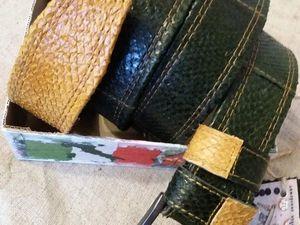 Мужские ремни из кожи рыбы  на выходные снижаю цены. Ярмарка Мастеров - ручная работа, handmade.