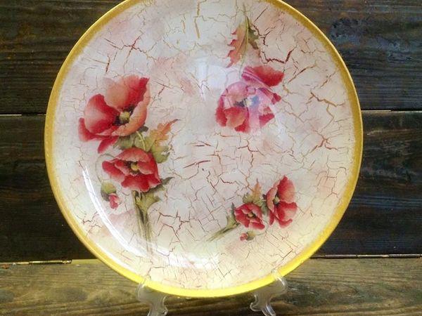 Обратный декупаж тарелки + Кракелюр или художественный фон | Ярмарка Мастеров - ручная работа, handmade