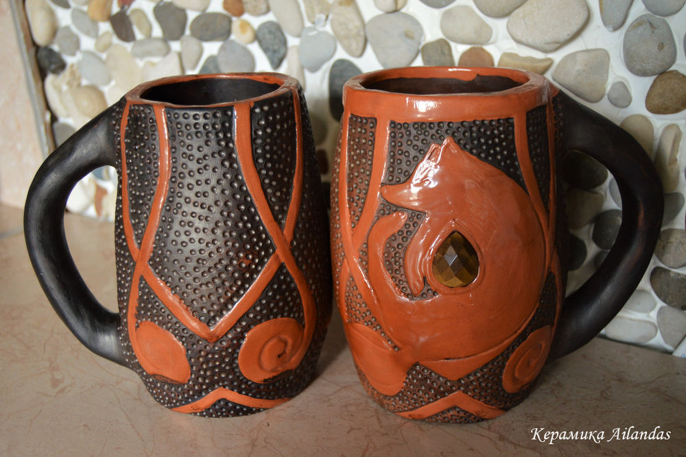 кружка лиса, лисица, осень, чаепитие, посуда, теплота, керамика ручной работы