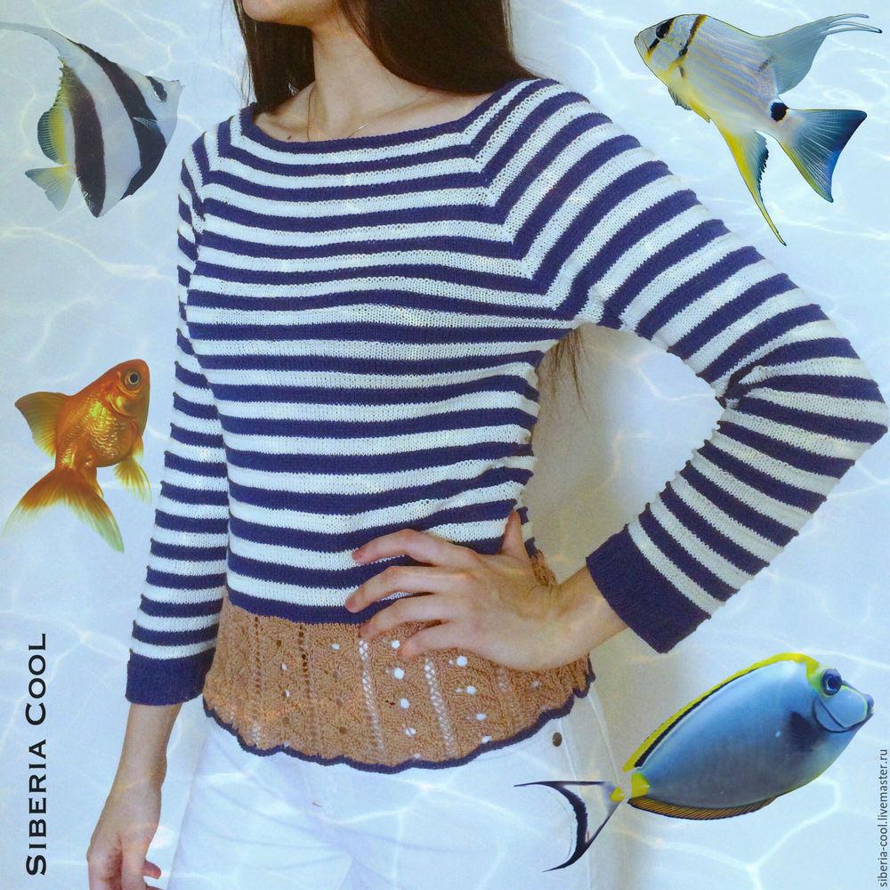 свитер, свитер спицами, белоснежный, полосатый