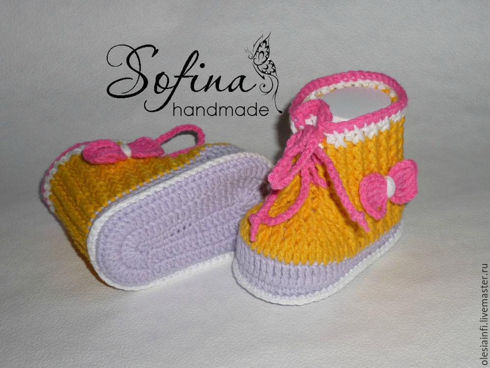 мк, описание, пинетки, пинетки ботиночки, для мальчика, для новорождённых, для фотосессии, видеоролик, мастер-класс