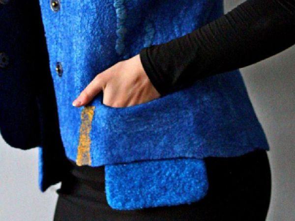Валяный жилет с карманами.Мастер-класс Ирины Федотовой. | Ярмарка Мастеров - ручная работа, handmade