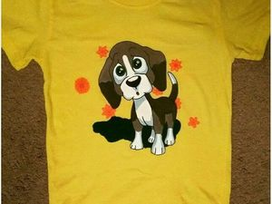 Рисуем щенка на футболке акриловыми красками. Ярмарка Мастеров - ручная работа, handmade.