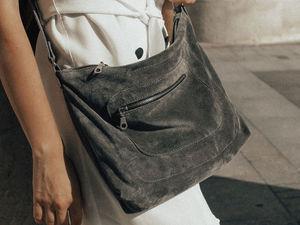 Прогулка с серой замшевой сумочкой. Ярмарка Мастеров - ручная работа, handmade.