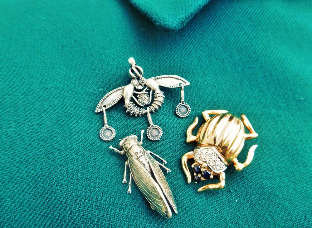 винтажные броши, насекомые