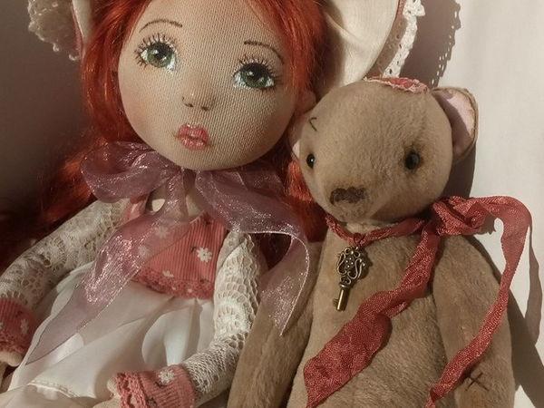 Текстильная куколка Луиза и её друг   Ярмарка Мастеров - ручная работа, handmade