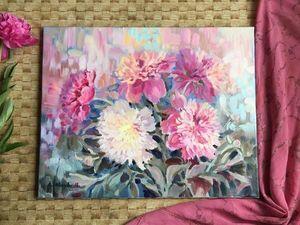 Новая картина маслом с пионами!Роскошные цветы!. Ярмарка Мастеров - ручная работа, handmade.