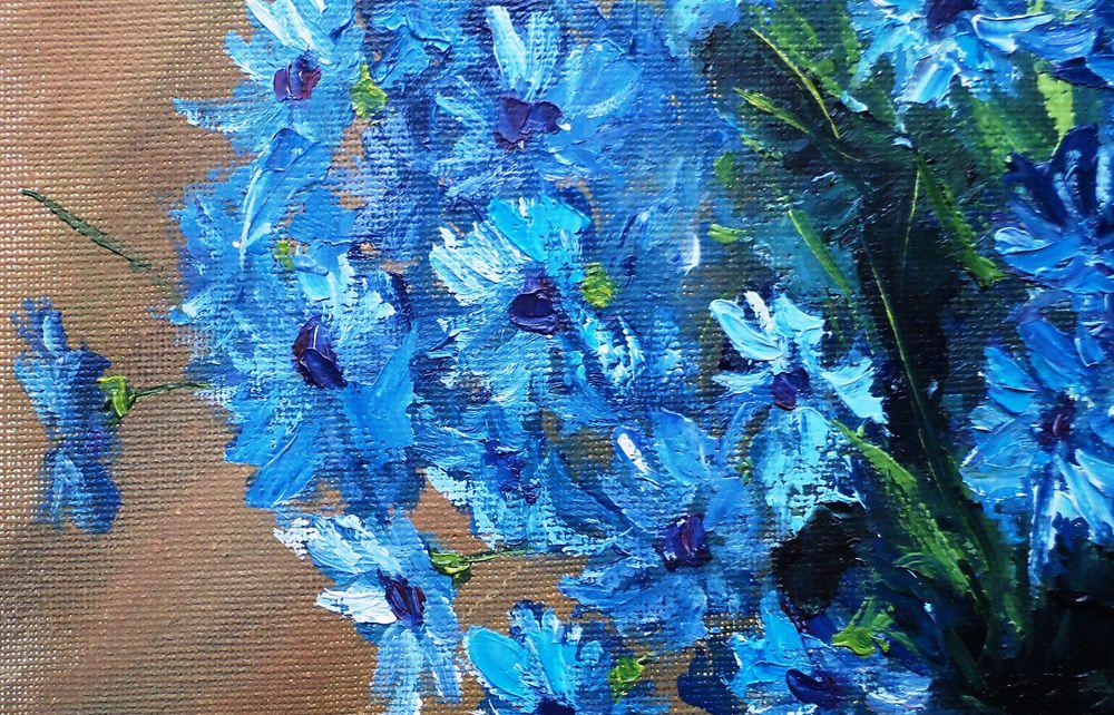 картина маслом, полевые цветы, картина на юбилей, букет в вазе