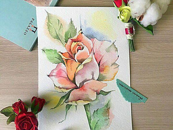 Рисуем  акварелью нежную розу   Ярмарка Мастеров - ручная работа, handmade
