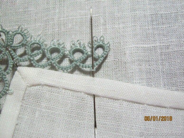 Making Handkerchiefs with Tatting Lace, фото № 18