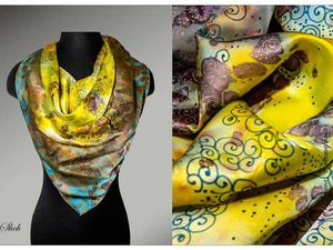 Необычные фактуры в холодном батике при росписи платка. Ярмарка Мастеров - ручная работа, handmade.