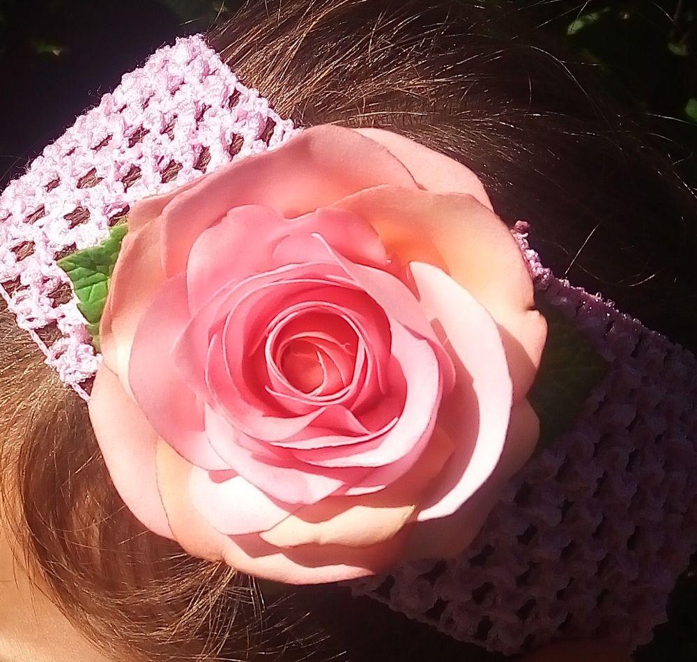 повязка для волос, повязка с розой