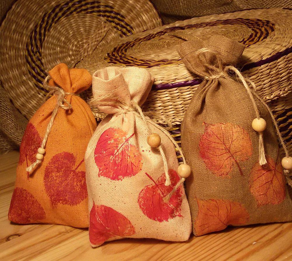 мешочек для хранения, отпечатки листьев