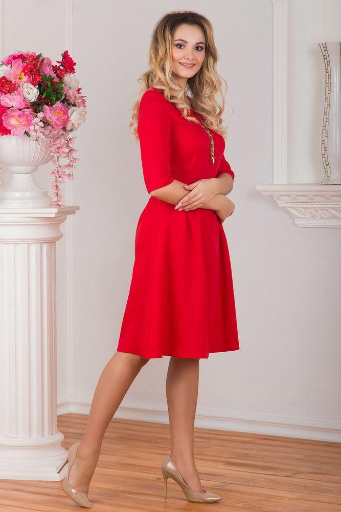 платье на работу, красное платье