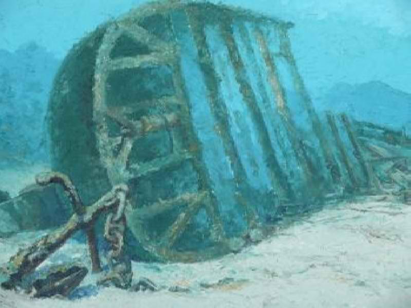 подводная живопись, затонувшие корабли