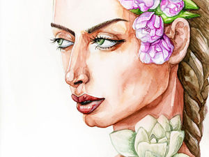 Мастер-класс: портрет девушки акварелью. Ярмарка Мастеров - ручная работа, handmade.